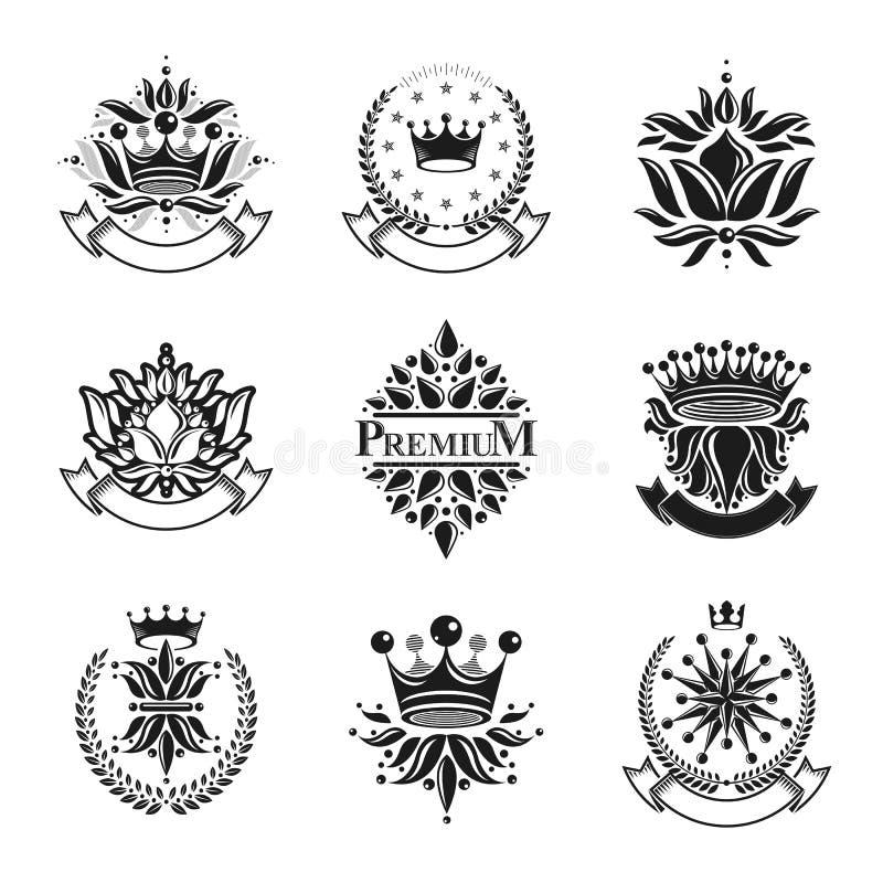 Λουλούδια, βασιλικά σύμβολα, floral και κορώνες, εμβλήματα καθορισμένα Heraldi απεικόνιση αποθεμάτων