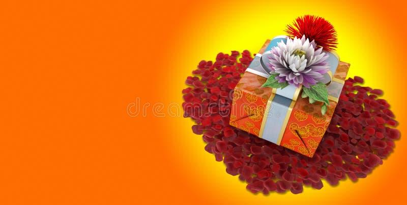 Λουλούδια διακοπών με το κιβώτιο δώρων στοκ εικόνες