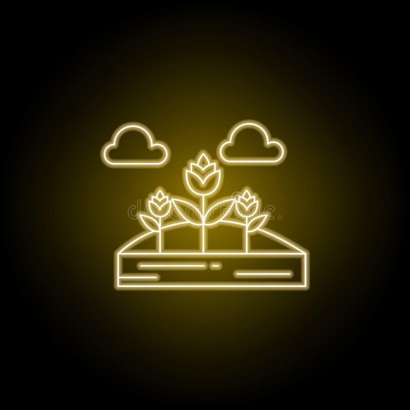 Λουλούδια, εικονίδιο γραμμών σύννεφων στο κίτρινο ύφος νέου Στοιχείο της απεικόνισης τοπίων Το εικονίδιο γραμμών σημαδιών και συμ διανυσματική απεικόνιση