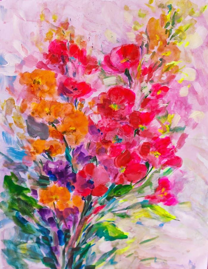Λουλούδια ελαιογραφίας σύστασης, ζωηρά λουλούδια ζωγραφικής, χλωρίδα ελεύθερη απεικόνιση δικαιώματος