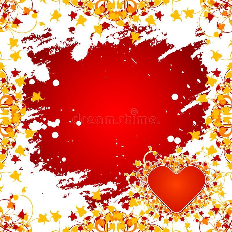 λουλούδια ημέρας καρτών β που χαιρετούν grunge το βαλεντίνο καρδιών s ελεύθερη απεικόνιση δικαιώματος