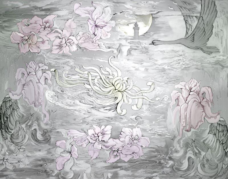 Λουλούδια Κελτικής Θάλασσας Ελαιογραφία στον καμβά Seascape φαντασίας με το φάρο και τον πετώντας κύκνο ελεύθερη απεικόνιση δικαιώματος