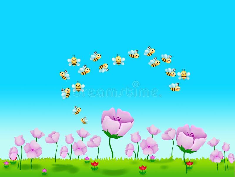 Download λουλούδια μελισσών απεικόνιση αποθεμάτων. εικονογραφία από μελισσών - 13176300