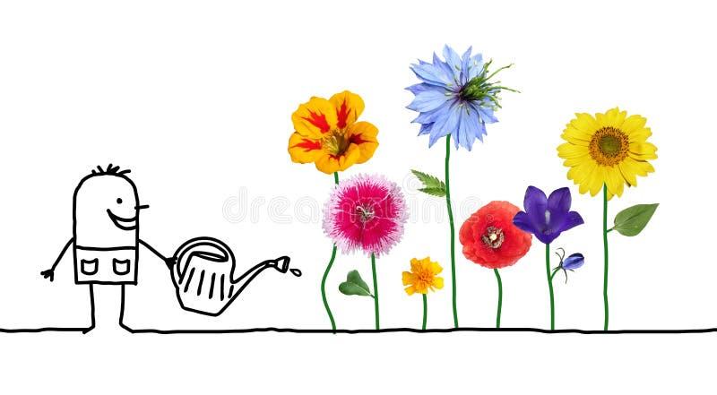 Λουλούδια ποτίσματος κηπουρών κινούμενων σχεδίων διανυσματική απεικόνιση