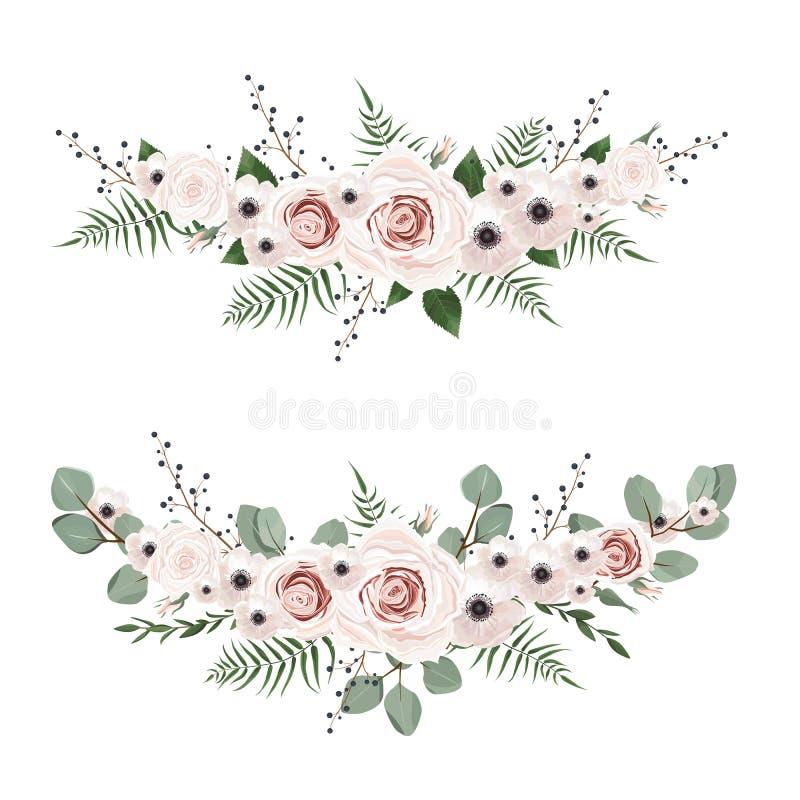 λουλούδια που τίθεντα&iot Ζωηρόχρωμη floral συλλογή με τα φύλλα και τα λουλούδια ελεύθερη απεικόνιση δικαιώματος