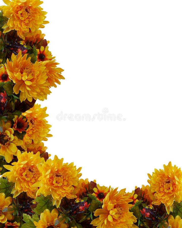 λουλούδια πτώσης συνόρω& διανυσματική απεικόνιση