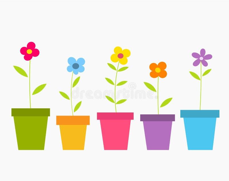 Λουλούδια στα δοχεία ελεύθερη απεικόνιση δικαιώματος
