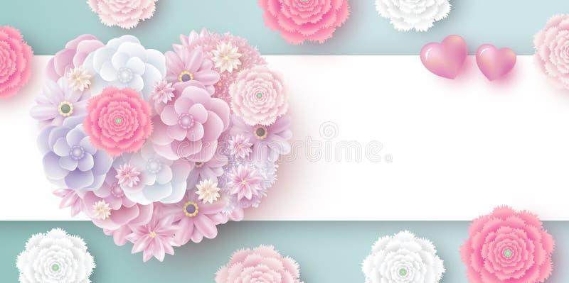 Λουλούδια στη μορφή καρδιών με το διάστημα αντιγράφων για την ημέρα μητέρων των γυναικών βαλεντίνων διανυσματική απεικόνιση
