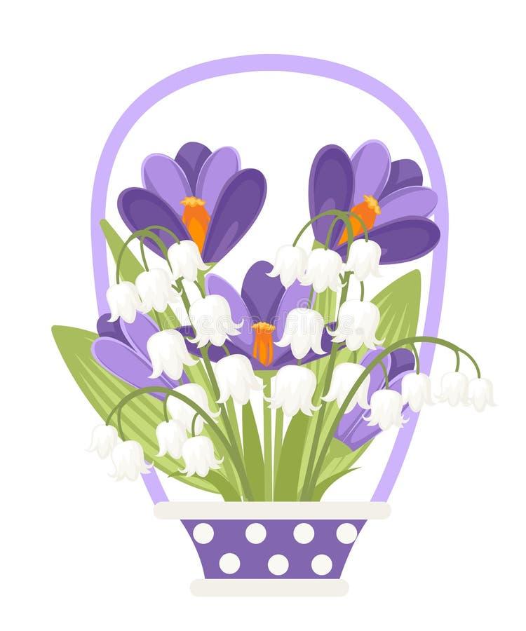 Λουλούδια στο κεραμικό καλάθι Πορφυρός κρόκος και άσπρα majalis Convallaria Πράσινο σχέδιο λουλουδιών, χλόη Επίπεδη διανυσματική  διανυσματική απεικόνιση