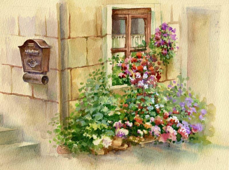 Λουλούδια στο παράθυρο ελεύθερη απεικόνιση δικαιώματος