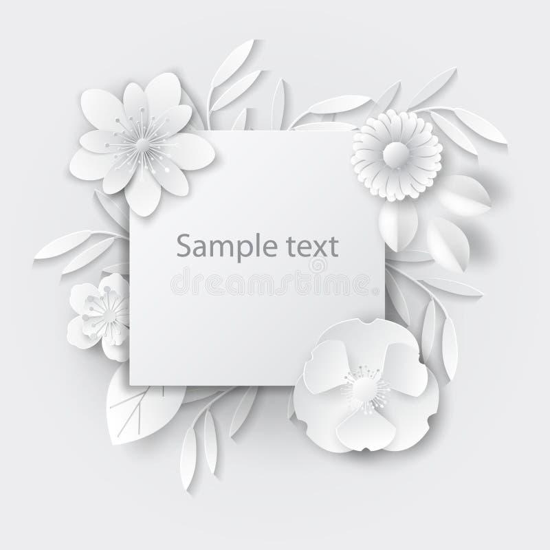 Λουλούδια τέχνης εγγράφου Σχέδιο λουλουδιών τέχνης εγγράφου για τα εμβλήματα, κάρτες Διανυσματικό απόθεμα στοκ φωτογραφία