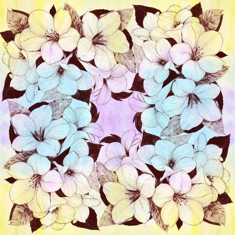λουλούδια τροπικά Γραφικές τέχνες Διακοσμητική σύνθεση - λουλούδια σε ένα υπόβαθρο watercolor Έντυπα χρήση υλικά, σημάδια, στοιχε απεικόνιση αποθεμάτων