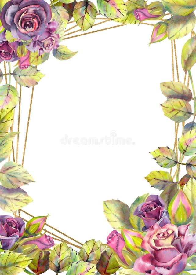 Λουλούδια των σκοτεινών τριαντάφυλλων, πράσινα φύλλα, σύνθεση Κάθετος προσανατολισμός του πλαισίου r E απεικόνιση αποθεμάτων