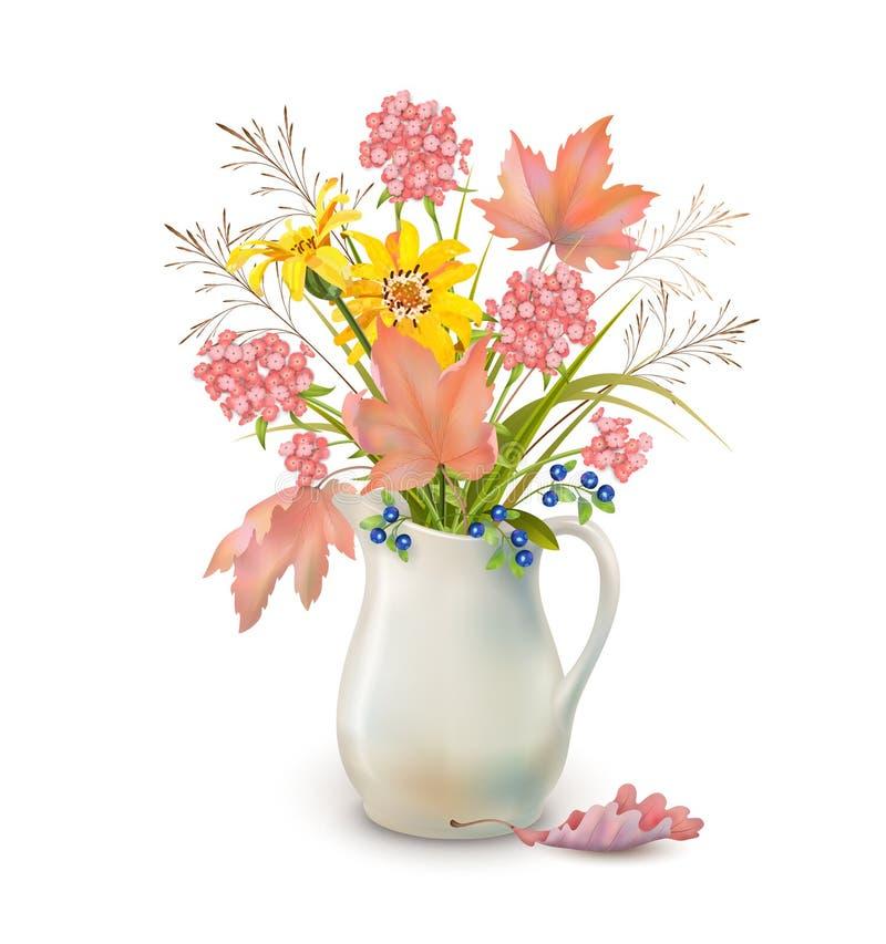 Λουλούδια φθινοπώρου στην κανάτα απεικόνιση αποθεμάτων
