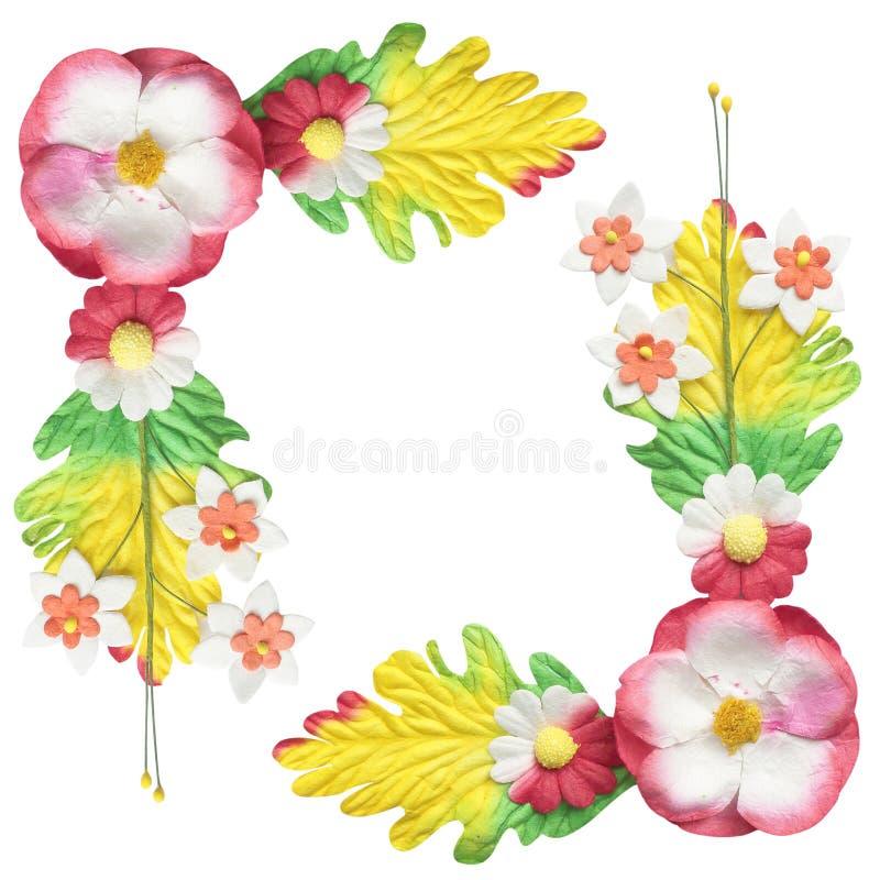 Λουλούδια φιαγμένα ζωηρόχρωμο έγγραφο που χρησιμοποιείται από τη διακόσμηση που απομονώνεται για στο λευκό στοκ φωτογραφία