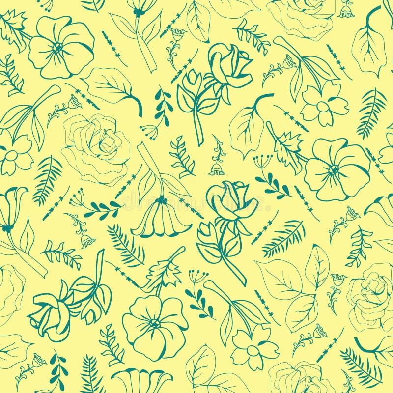 Λουλούδια χέρι-που σύρουν τα πράσινες λουλούδια και τις εγκαταστάσεις συλλογής απεικόνιση αποθεμάτων