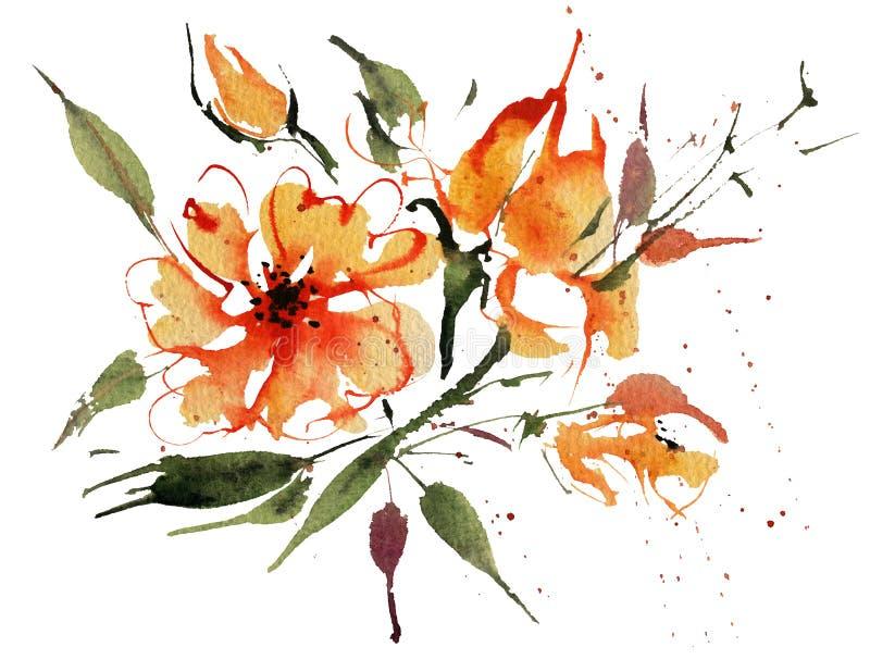 Λουλούδια Watercolor που απομονώνονται σε ένα άσπρο υπόβαθρο ελεύθερη απεικόνιση δικαιώματος