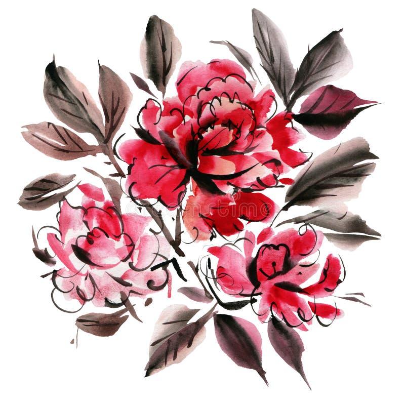 Λουλούδια Watercolor που απομονώνονται σε ένα άσπρο υπόβαθρο διανυσματική απεικόνιση
