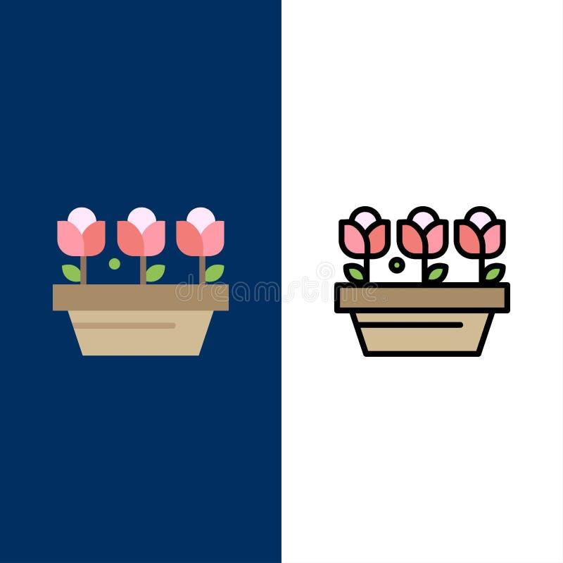 Λουλούδι, αύξηση, εγκαταστάσεις, εικονίδια ανοίξεων Επίπεδος και γραμμή γέμισε το καθορισμένο διανυσματικό μπλε υπόβαθρο εικονιδί απεικόνιση αποθεμάτων