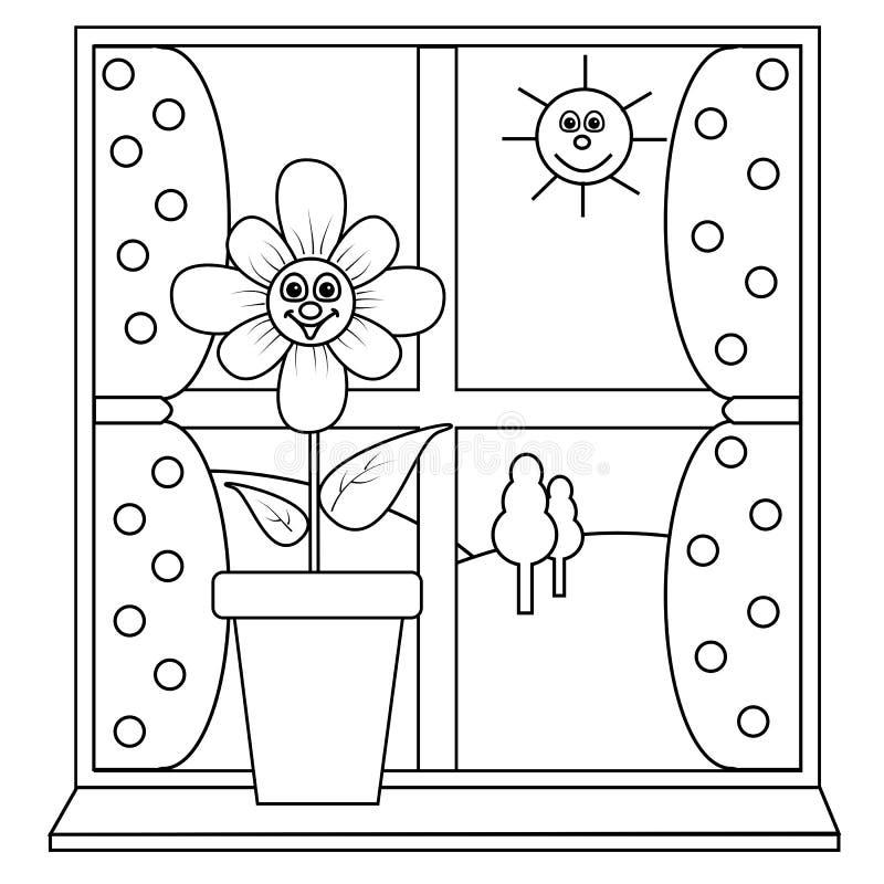 λουλούδι δίπλα στο παράθυρο απεικόνιση αποθεμάτων