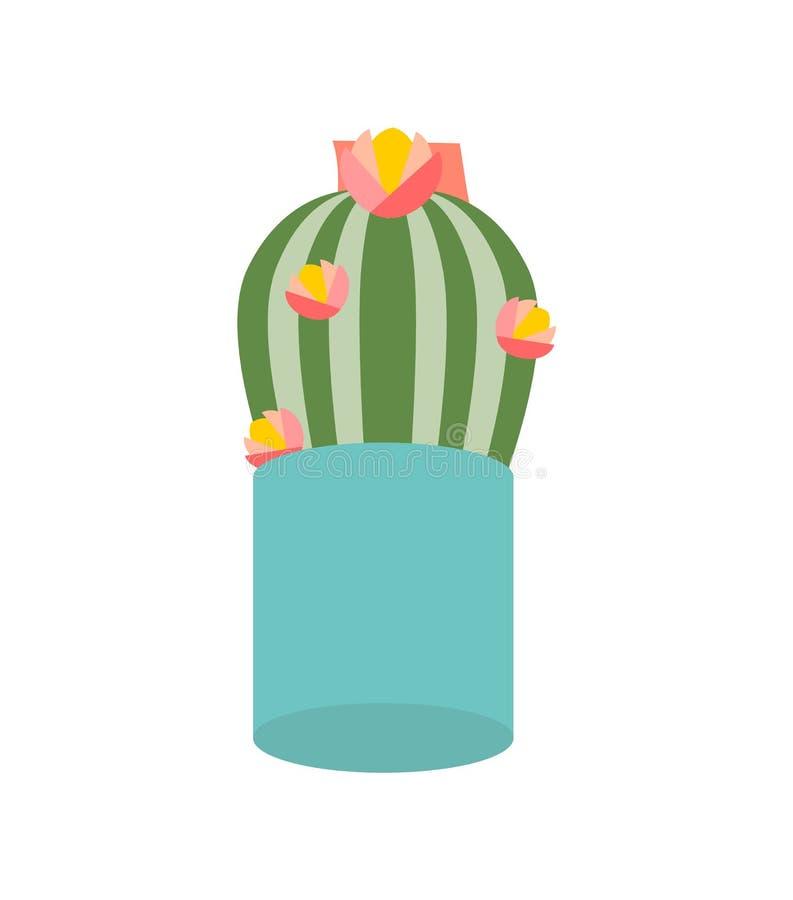Λουλούδι κάκτων στο δοχείο, απομονωμένο Houseplant εικονίδιο απεικόνιση αποθεμάτων