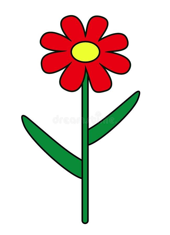 Λουλούδι κινούμενων σχεδίων με τα φύλλα διανυσματική απεικόνιση