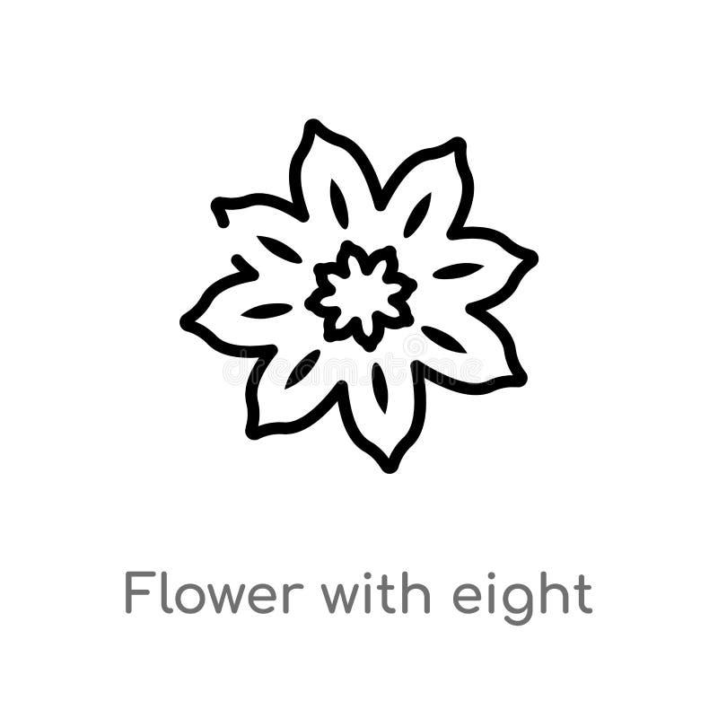λουλούδι περιλήψεων με το διανυσματικό εικονίδιο οκτώ πετάλων απομονωμένη μαύρη απλή απεικόνιση στοιχείων γραμμών από την έννοια  απεικόνιση αποθεμάτων