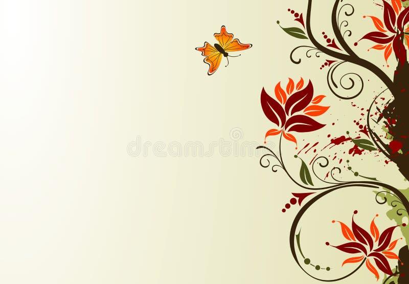 λουλούδι πεταλούδων ανασκόπησης grunge διανυσματική απεικόνιση