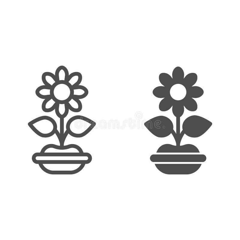 Λουλούδι στη γραμμή και glyph το εικονίδιο δοχείων Εγκαταστάσεων απεικόνιση που απομονώνεται διανυσματική στο λευκό Flowerpot το  ελεύθερη απεικόνιση δικαιώματος