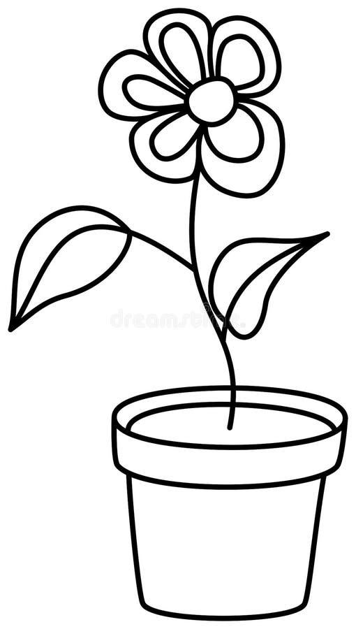 Λουλούδι στο διανυσματικό εικονίδιο περιλήψεων δοχείων Χρωματίζοντας σελίδα βιβλίων για τα παιδιά απεικόνιση αποθεμάτων