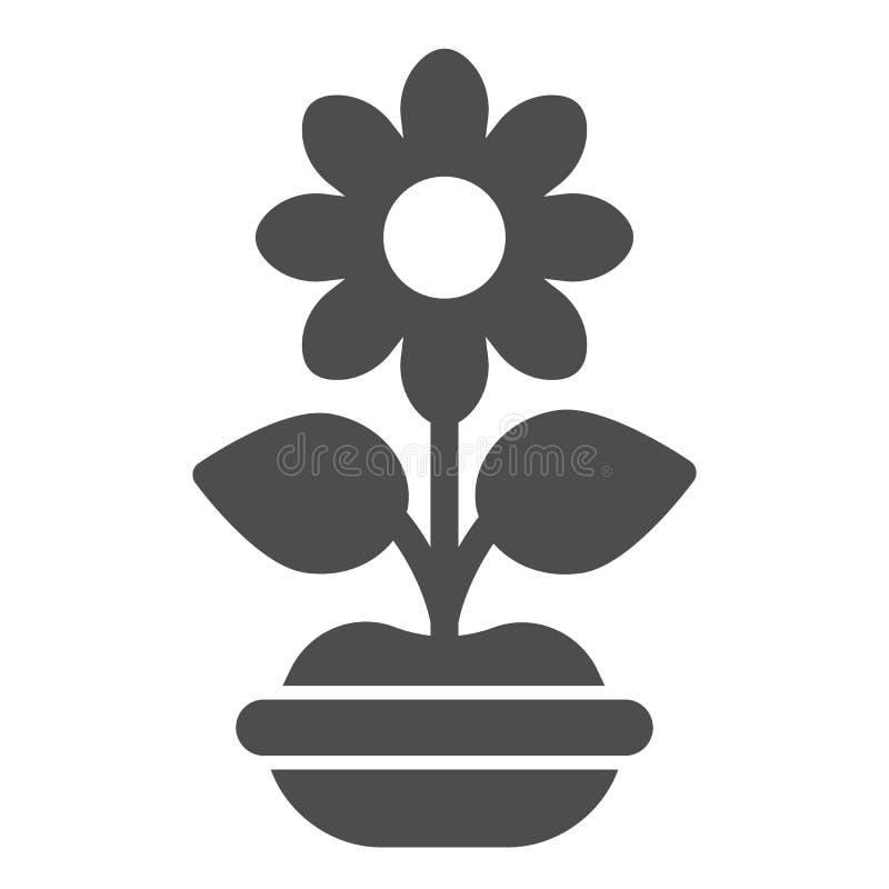 Λουλούδι στο στερεό εικονίδιο δοχείων Εγκαταστάσεων απεικόνιση που απομονώνεται διανυσματική στο λευκό Flowerpot glyph σχέδιο ύφο ελεύθερη απεικόνιση δικαιώματος