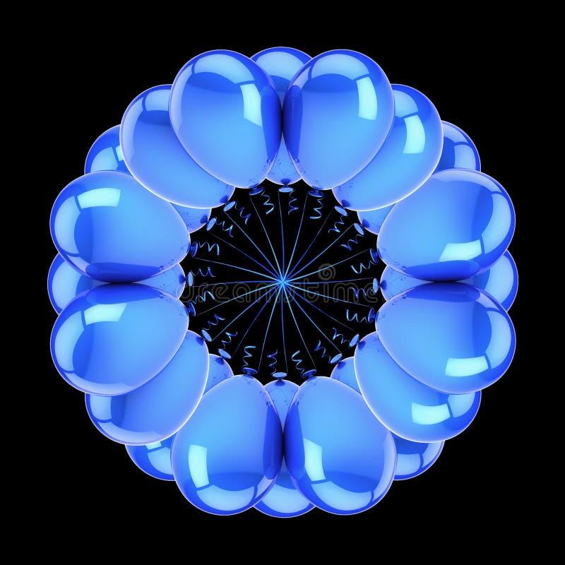 Λουλούδι της μπλε περίληψης μπαλονιών κομμάτων κύκλος μπαλονιών ηλίου απεικόνιση αποθεμάτων