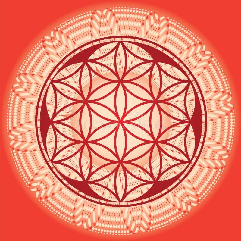 Λουλούδι της mandala-εαρινής έκδοση-χρήσης σπόρου ζωής για το σχέδιο και με ελεύθερη απεικόνιση δικαιώματος