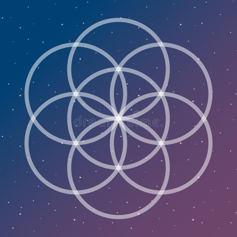 Λουλούδι του συμβόλου ζωής σε έναν κοσμικό ενδασφαλίζοντας διαστημικό σάκο κύκλων απεικόνιση αποθεμάτων