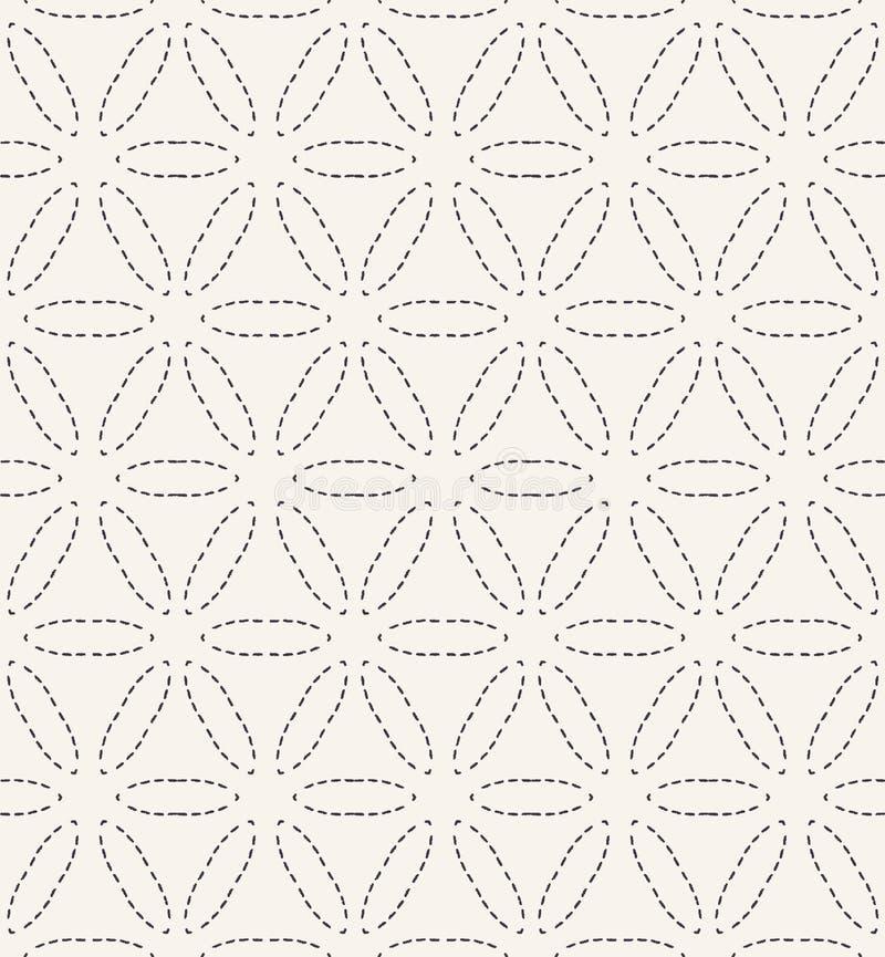 Λουλούδι του τρέχοντας σχεδίου κεντητικής βελονιών ζωής Απλό άνευ ραφής διανυσματικό υπόβαθρο ραπτικής Συρμένου χέρι γεωμετρικός  ελεύθερη απεικόνιση δικαιώματος