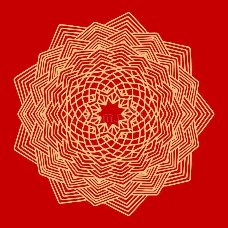 Λουλούδι χρυσό Mandala διακοσμητικός τρύγος στ&o Ασιατικό σχέδιο, διανυσματική απεικόνιση ινδική διακόσμηση Απομονωμένος στο α διανυσματική απεικόνιση