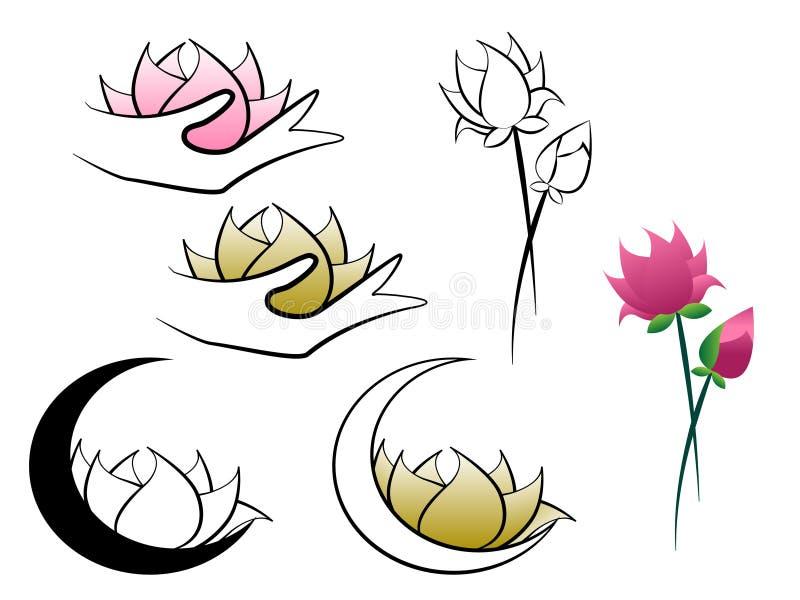 Λουλούδι Lotus που κατέχει το φεγγάρι και το αφηρημένο λογότυπο χεριών διανυσματική απεικόνιση