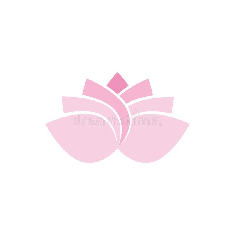 Λουλούδι Lotus στο επίπεδο διάνυσμα χρώματος ύφους ρόδινο και πράσινο απεικόνιση αποθεμάτων