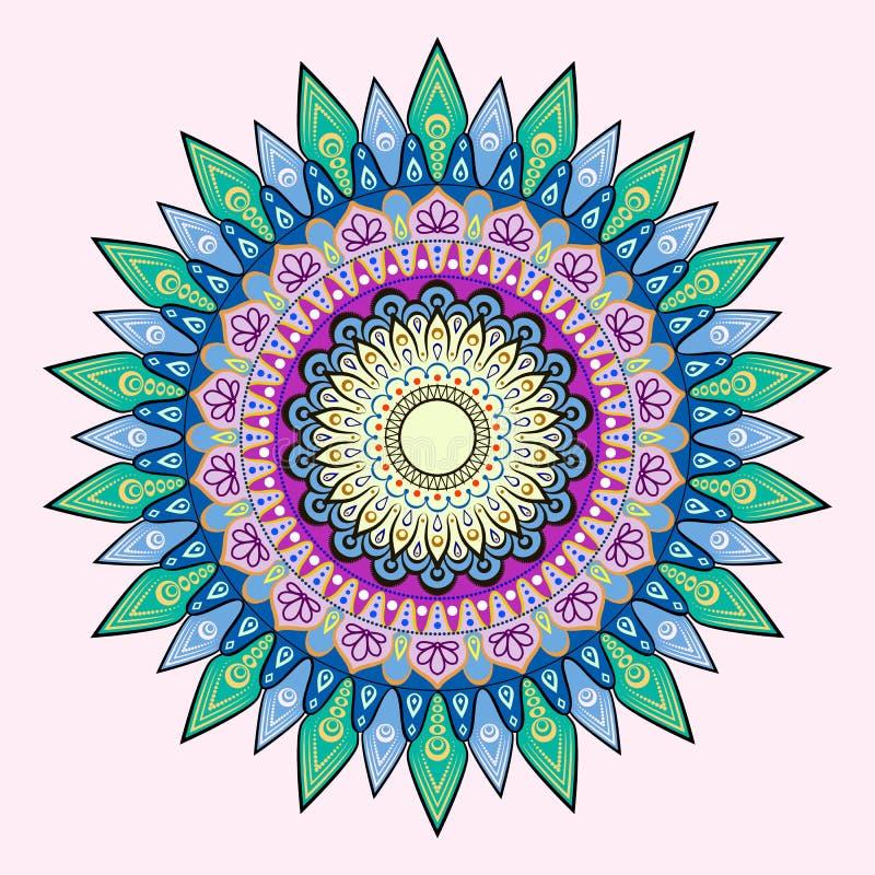 Λουλούδι Mandala διακοσμητικός τρύγος στ&o Ασιατικό σχέδιο, χρωματισμένη διανυσματική απεικόνιση ελεύθερη απεικόνιση δικαιώματος