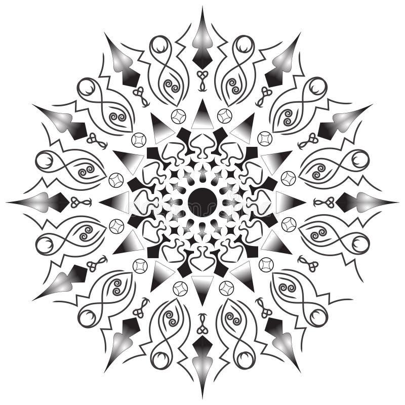 Λουλούδι Mandala Εκλεκτής ποιότητας διακοσμητικά στοιχεία Ασιατικό σχέδιο, απεικόνιση Ισλάμ, Αραβικά, Ινδός, μαροκινά, Ισπανία, τ ελεύθερη απεικόνιση δικαιώματος