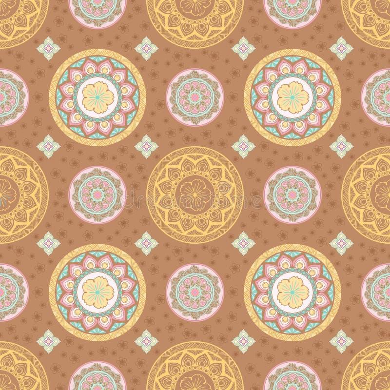 Λουλούδι mandala κρητιδογραφιών και ταϊλανδικό άνευ ραφής σχέδιο ύφους ελεύθερη απεικόνιση δικαιώματος
