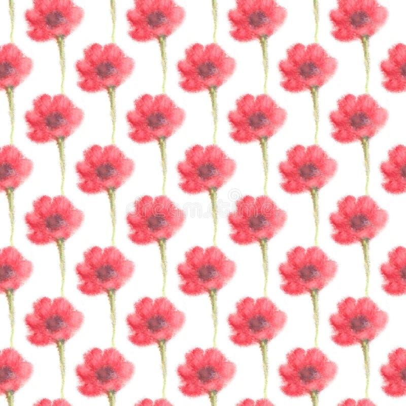 Λουλούδι watercolor θαμπάδων, εξασθενισμένο άνευ ραφής υπόβαθρο διανυσματική απεικόνιση
