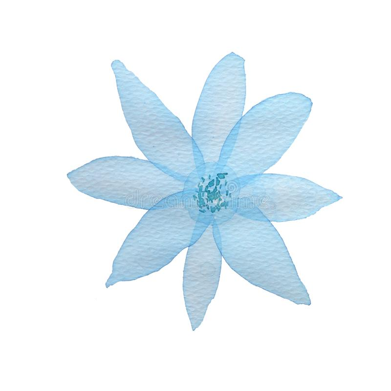 Λουλούδι Watercolor στο άσπρο υπόβαθρο ελεύθερη απεικόνιση δικαιώματος