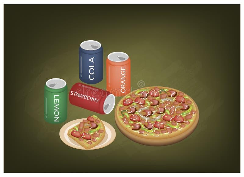 Λουξ ποτά πιτσών και σόδας στον πίνακα κιμωλίας διανυσματική απεικόνιση