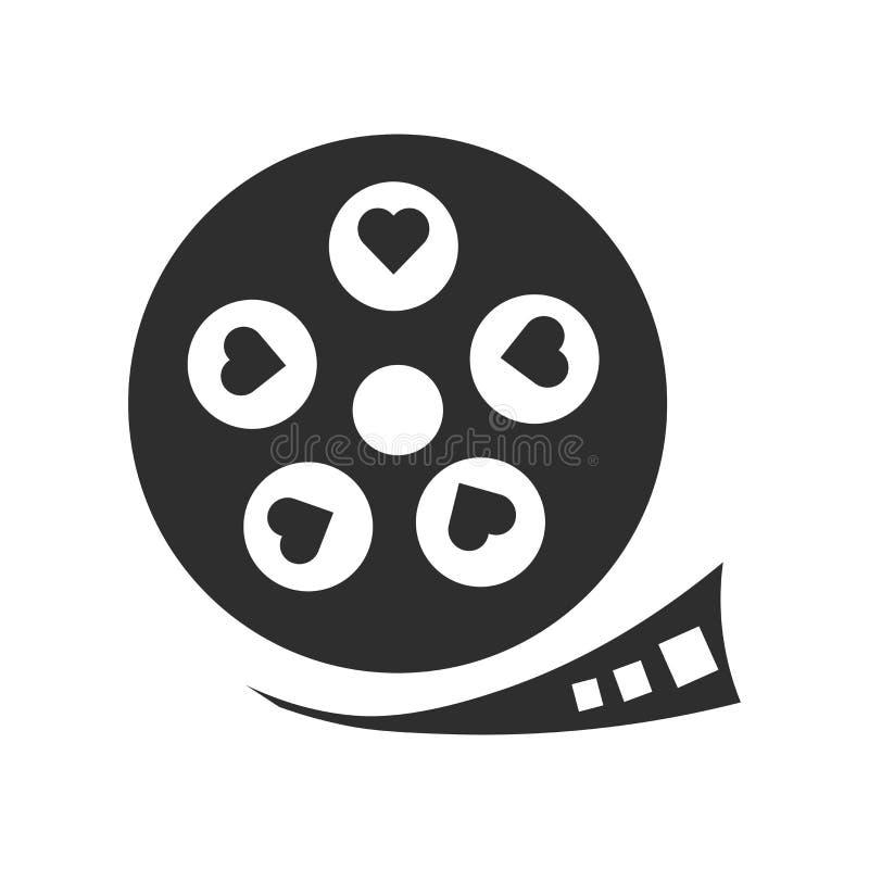 Λουρίδα ταινιών με το διανυσματικό σημάδι εικονιδίων καρδιών και σύμβολο που απομονώνεται στο άσπρο υπόβαθρο, λουρίδα ταινιών με  απεικόνιση αποθεμάτων
