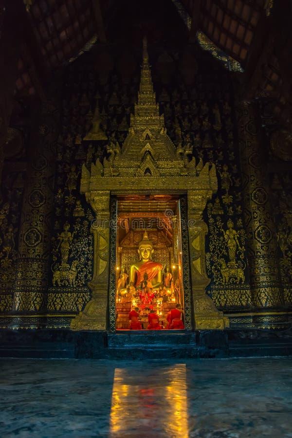 Λουρί Xieng Wat, ένας διάσημος ναός στο κτύπημα Luang Pra, Λάος στοκ φωτογραφίες με δικαίωμα ελεύθερης χρήσης