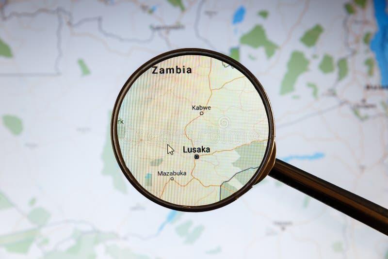 Λουσάκα, Ζάμπια Πολιτικός χάρτης στοκ εικόνα
