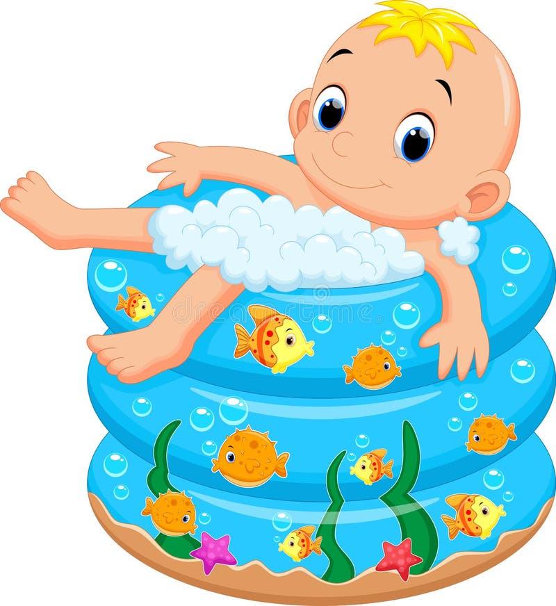 Λουτρό αγοράκι σε μια μπανιέρα με το μέρος του σαπουνιού διανυσματική απεικόνιση