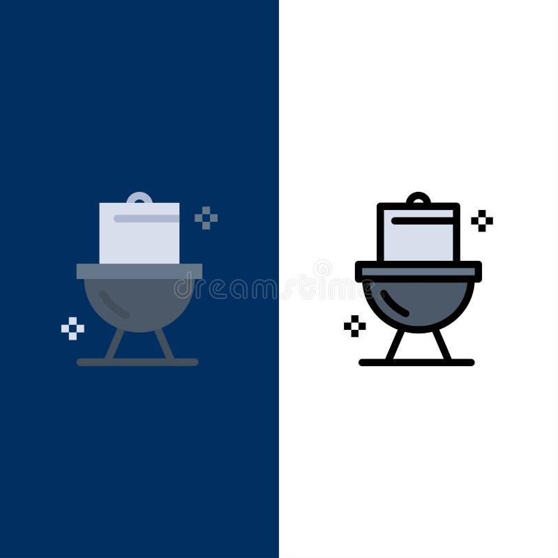 Λουτρό, καθαρισμός, τουαλέτα, Washroom εικονίδια Επίπεδος και γραμμή γέμισε το καθορισμένο διανυσματικό μπλε υπόβαθρο εικονιδίων απεικόνιση αποθεμάτων