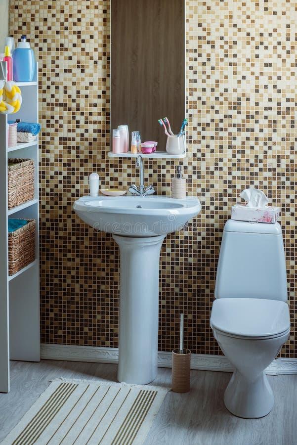 Λουτρό με την τουαλέτα και το νεροχύτη στοκ φωτογραφία με δικαίωμα ελεύθερης χρήσης